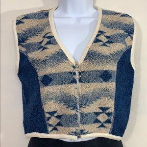Vintage southwestern cropped furry vest